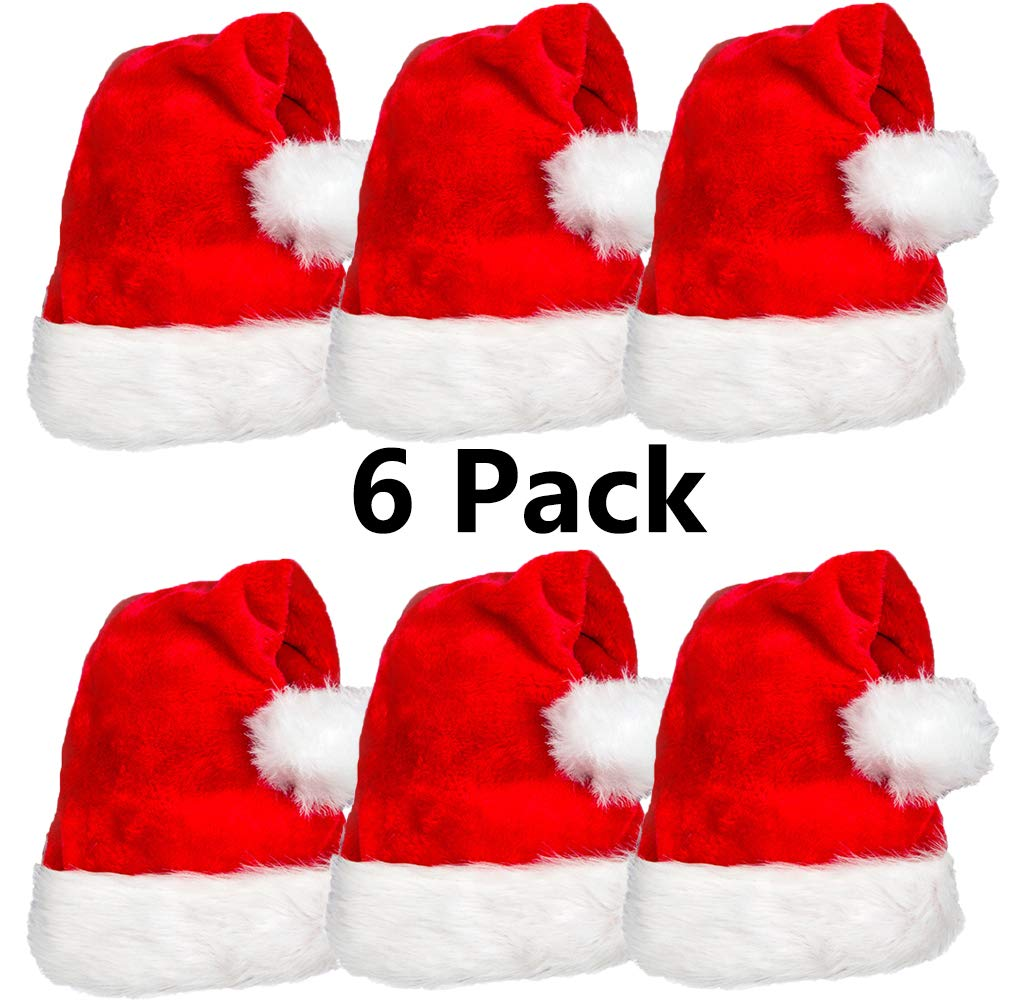 6 Pack Plush Santa Hat Confortable Velvet Red Christmas Hat for Christmas Party Favors Fit for Adults and Kids by AOGU