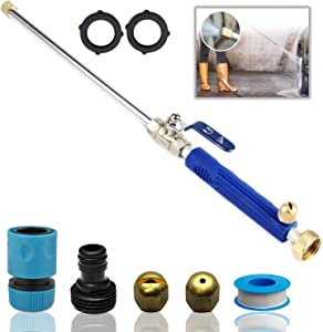 DBR Tech Hydro Jet High Pressure Power Washer Wand for Car Washing or Garden Cleaning, Heavy Duty Metal Watering Sprayer with Universal Hose End, Navy
