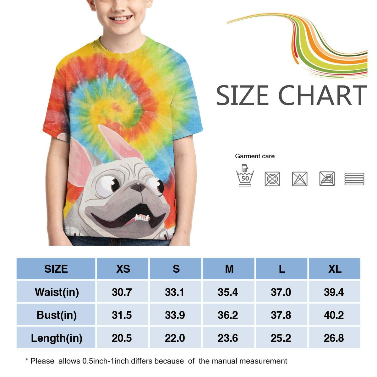 AMODECO French Bulldog 3D Printed Tee T-Shirt for Youth Teenager Boys Girls