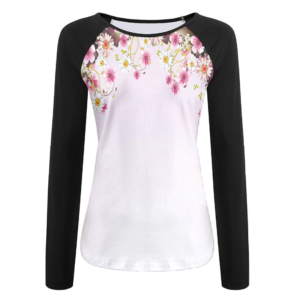 Weiding Daisy Bouquet Botany Petals with Butterfly Wedding Valentines Romance Women's Stretchy Long Sleeve Raglan Tshirt L