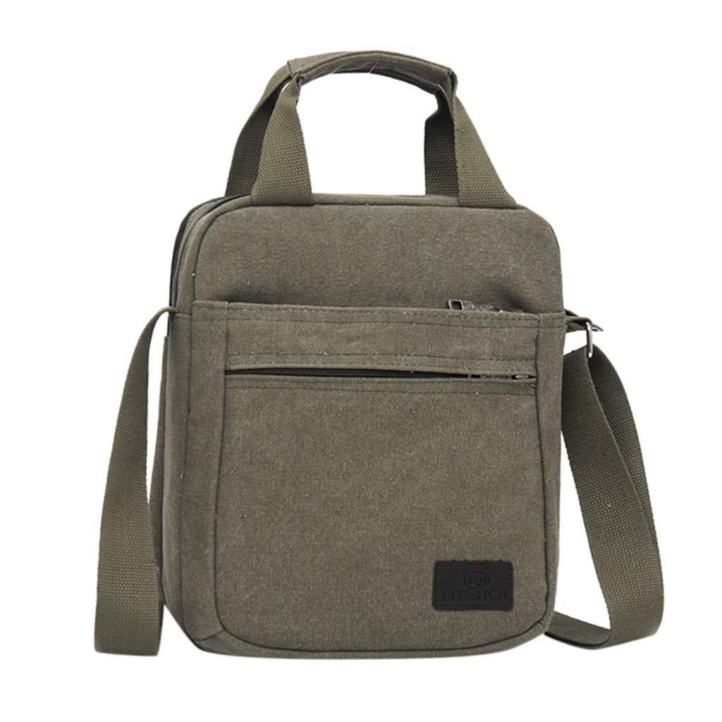 Shmei Men's Fashion Elegant Canvas Solid Color Totes Business Shoulder Bag Messenger Bags (Green)