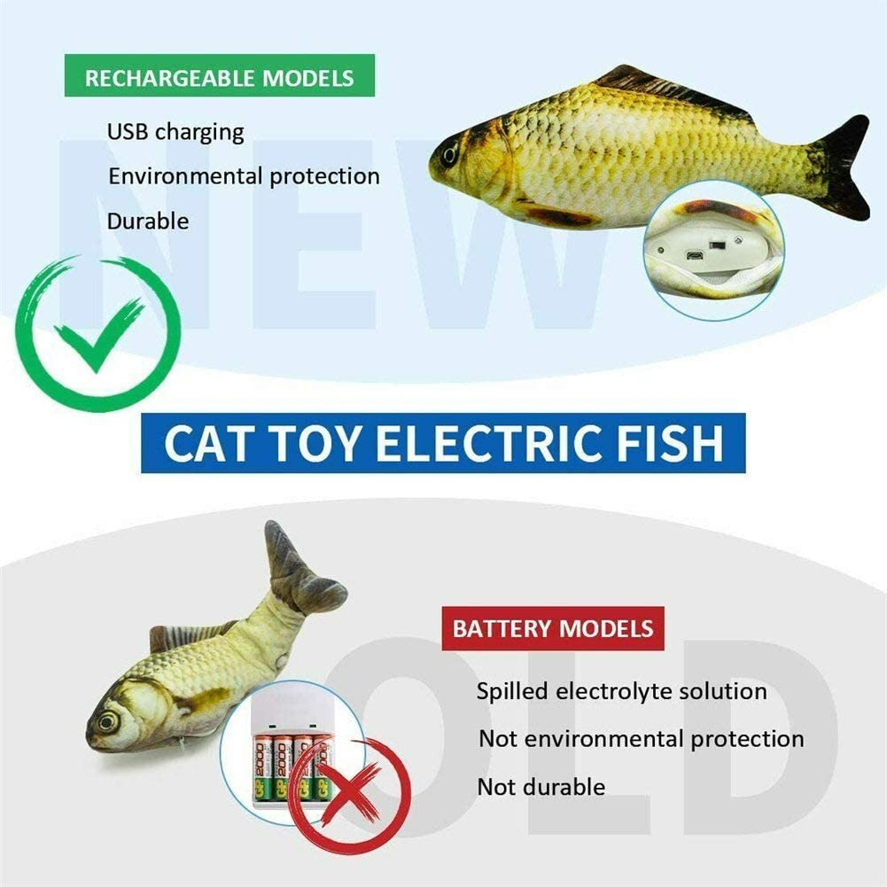 A Funny Interactive Pets Pillow Chew Bite Kick Supplies for Kitten Kitty Exercise youfenghui Electric Moving Cat Catnip Kicker Fish Toy Realistic Plush Simulation Electric Wiggle /& Sing Fish