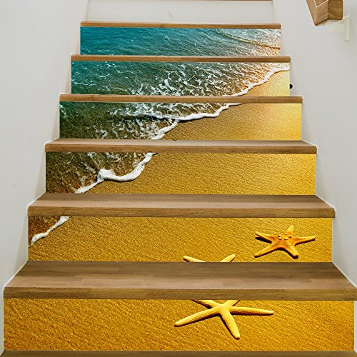 6PCS/SET Beach Starfish DIY Stair Sticker 3D Printing Removeable Waterproof Wallpaper Decor Home Decorations