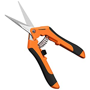 "VIVOSUN 6.5"" Gardening Hand Pruner Pruning Shear with Straight Stainless Steel Blades Orange"