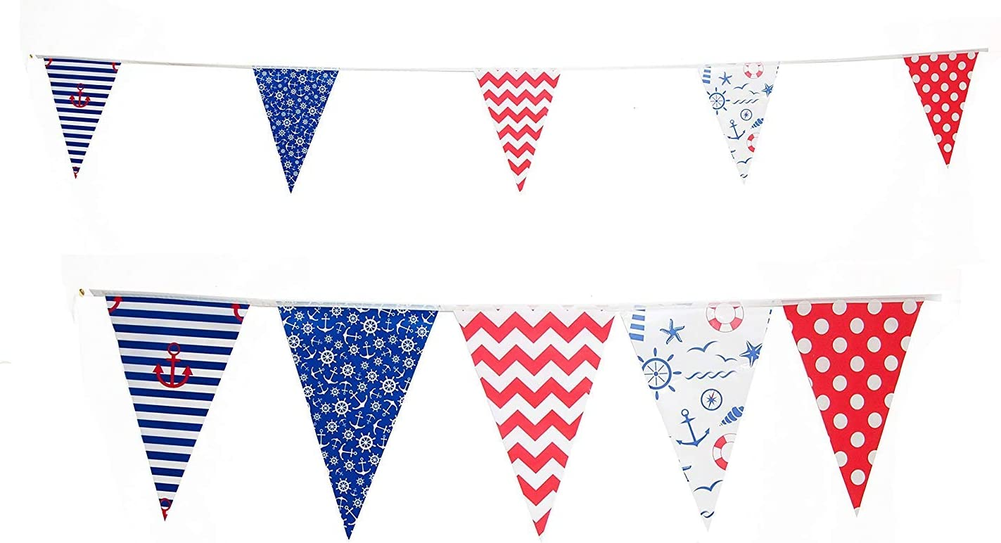 FLEX Banner Nautical Sailboat Boating FLAG 6 Feet String of 26 flags Bunting