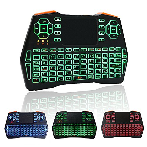 KUD i8+ 2.4GHz Plus Mini Wireless Keyboard with Touchpad Mouse LED Backlig Handheld Remote Control Keyboard for Android TV BOX,Smart TV,PC Notebook,X-BOX,HTPC(include Rechargable Li-ion Battery)