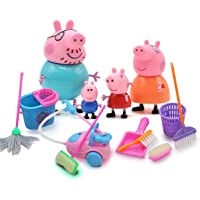 Windup Miniature Action Toy Pig Family Set of 4 (5 -8 cm) with Mini Cleaning Kit Set of 9
