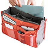 Hee Grand Women's Handbag Organiser Liner Tidy Travel Cosmetic Pocket Insert 12 Pockets Large Orange