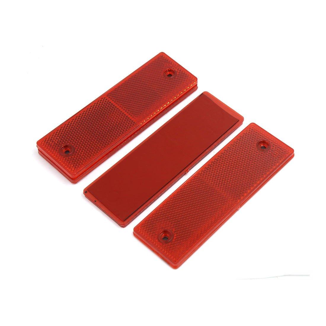 sourcingmap/® 4Pcs Collant rectangle rouge s/écurit/é R/éflecteur avec trous montage pour voiture