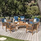 Christopher Knight Home 302285 Carolina Outdoor 8 Piece Patina Acacia Wood Sofa Set, Brown Dark Teal For Sale