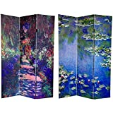 Oriental Furniture Largest Fine Wall Art Print Room Divider, 6-Feet Classic Monet Impressionist Paintings Printed Folding Screen, 3 Panels