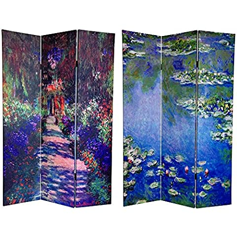 Oriental Furniture 6 ft. Tall Double Sided Works of Monet Canvas Room Divider - Lilies/Garden at (One Direction Huge Posters)