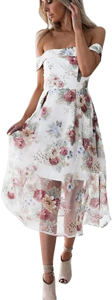 Boomboom Summer Women Teen Girls Off Shoulder Floral Long Maxi Dresses Xl Multicolor At Amazon Women S Clothing Store