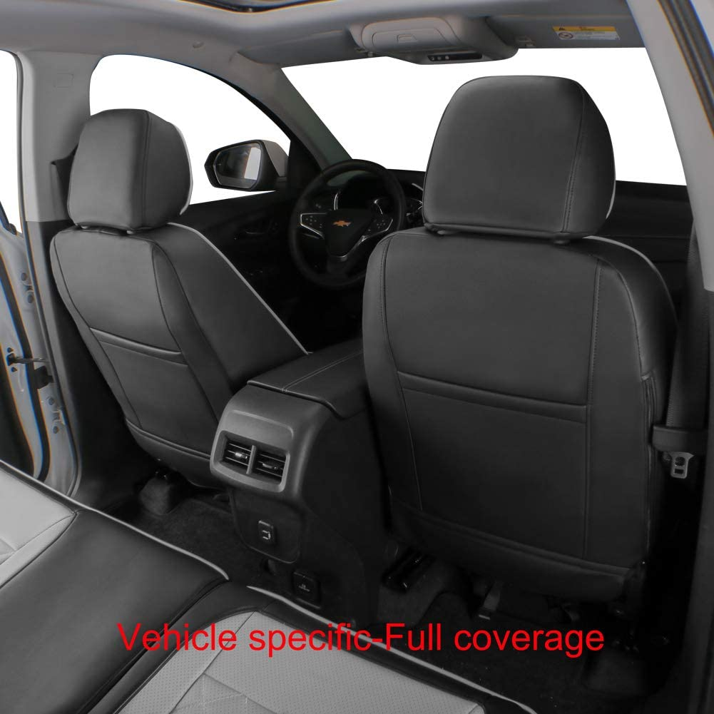 Leatherette EKR Custom Fit Full Set Car Seat Covers for Select Chevy Equinox 2020 2021 Black