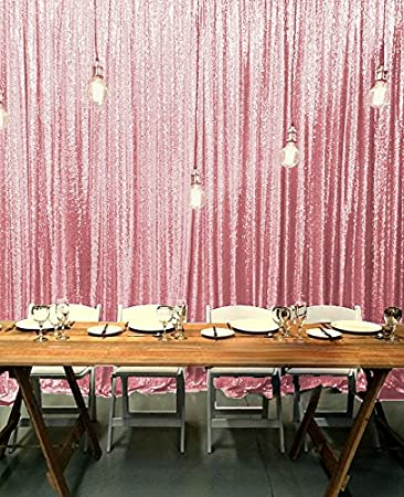Amazon.com: ShinyBeauty Sequin Backdrop-Pink Gold-8FTx10FT,Sparkly ...