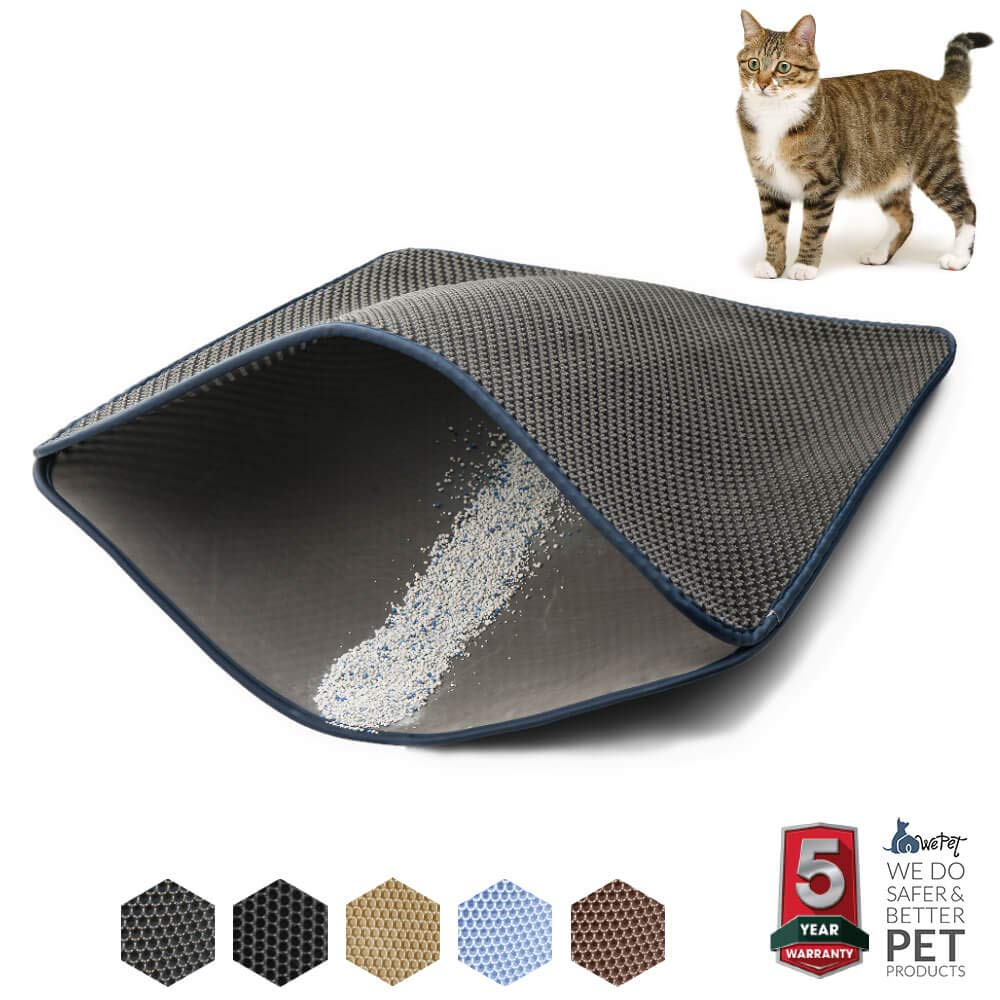 WePet Cat Litter Mat, Litter Trapping Mat, Large Size, Honeycomb Double Layer Design, No Phthalate, Water Urine Proof, Easy Clean, Scatter Control, Litter Catcher Locker, Kitty Litter Box Rug