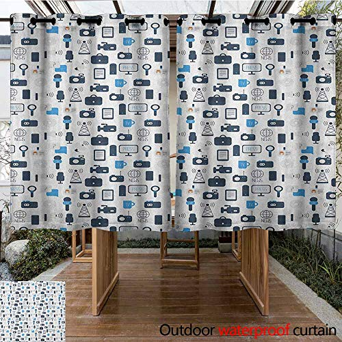 AndyTours Custom Outdoor Curtain,Blue and White,Journalism Mass Media Communication Theme Icons Press TV News,for Patio/Front Porch,K140C115 Dark Blue Pale Blue White