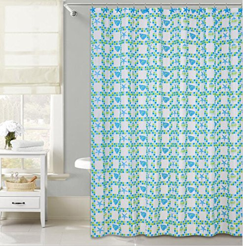 Decorative PEVA Mildew Free Water Repellant Shower Curtain 72x72 Comes With 12 Hooks (Starfish and Sea - Macys Free