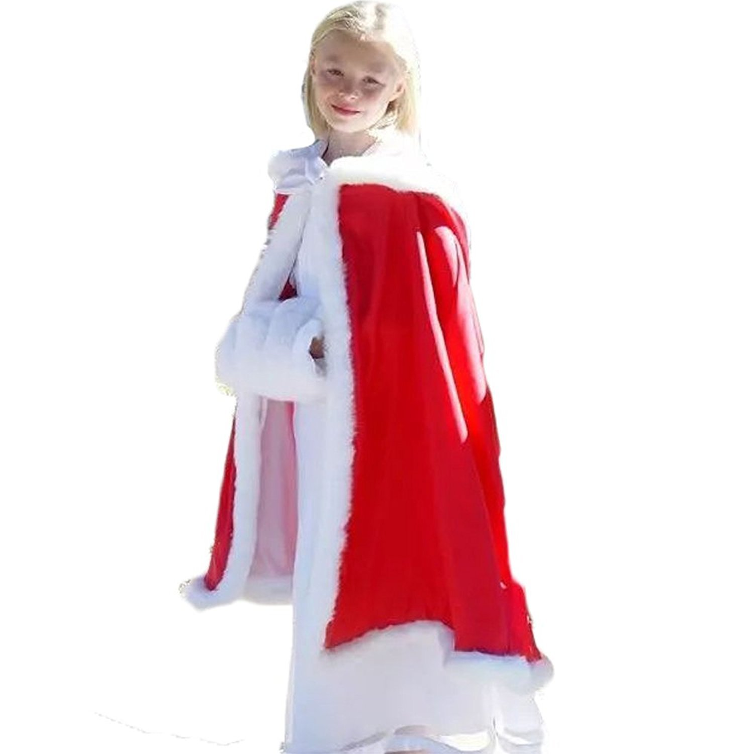 HotGirls Kid's Christmas Red Wedding Hooded Cape Cloak Winter Shawl with Fur Trim Hand Muff