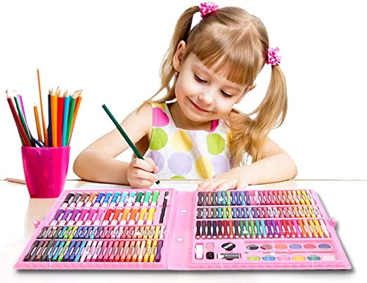 168 Niños Lápices de Colores Dibujo Artista Kit Pintura Arte Marcadores Pluma Lápiz Conjunto Cepillo de Pintura Dibujo Arte Conjunto para Adultos y niños Seguro y no tóxico: Amazon.es: Hogar