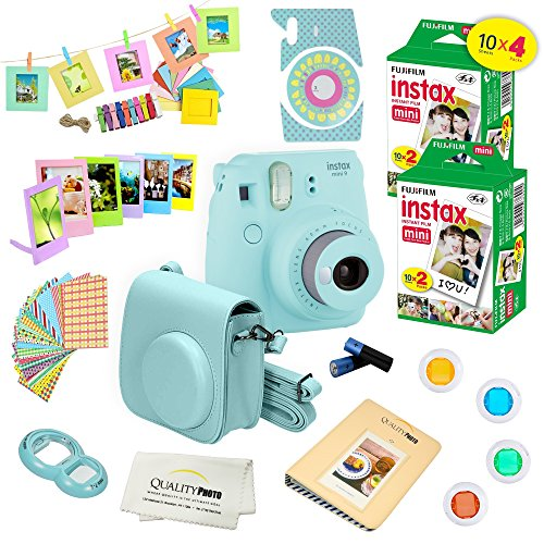 Fujifilm Instax Mini 9 Camera + Fuji INSTAX Instant Film (40 SHEETS) + 14 PC Instax Accessories kit Bundle, Includes; Instax Case + Album + Frames & Stickers + Lens Filters + MORE (Ice Blue)