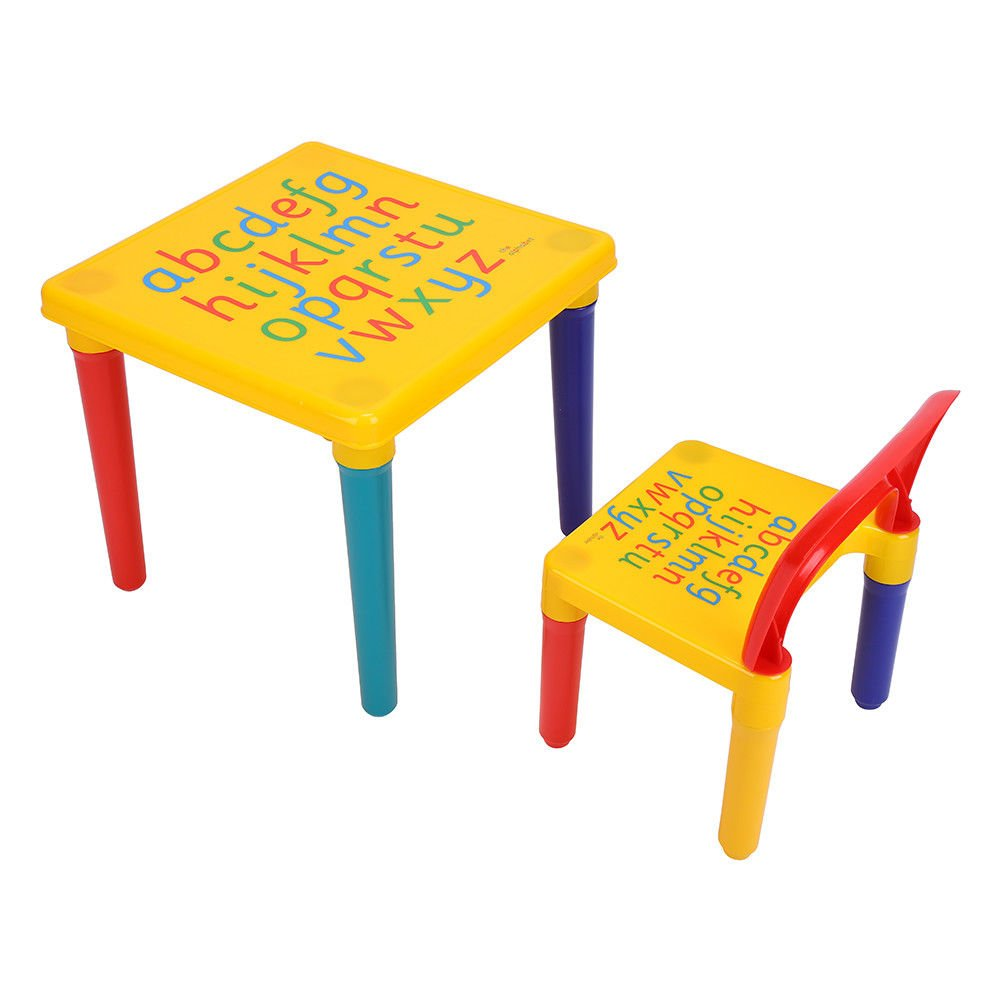 Kids Plastic Table and Chair Set Furniture Activity Toddler Toy Play Home Gifts Play Room Living Room