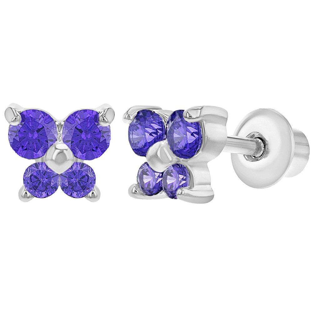 Rhodium Plated Purple Crystal Butterfly Screw Back Baby Earrings In Season Jewelry 03-0970
