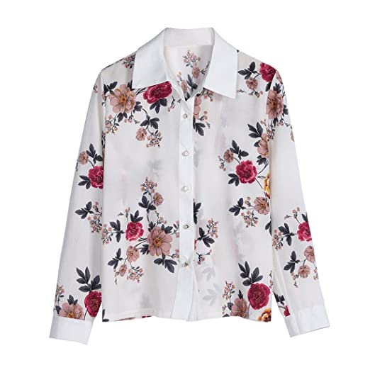 9618df2bce3e5f Sannysis Floral Tops for Women Print Chiffon Sexy White Blouses Long Sleeve  Casual Tops Designer Blouse