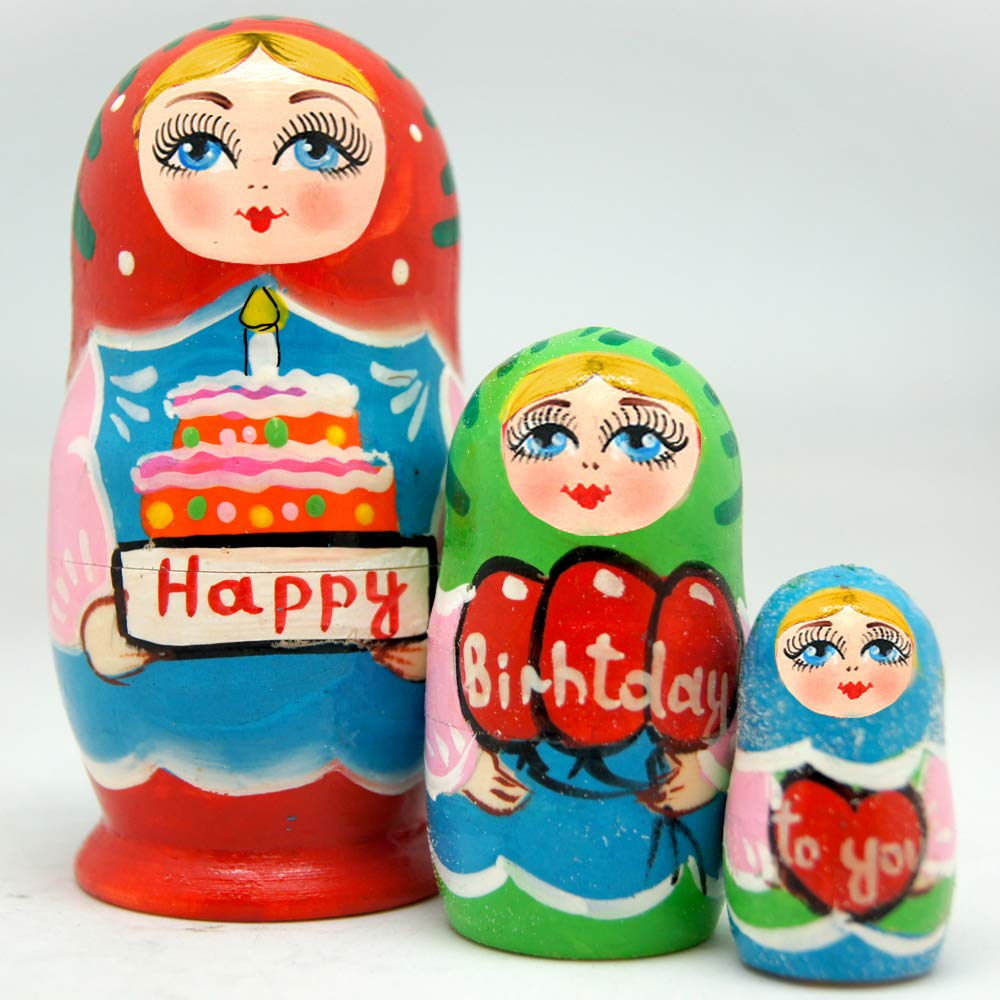 Amazon Com Happy Birthday To You 3 Nest Doll Russian Matryoshka Wooden Stacking Nested Dolls Wooden Handmade Toys Gift For Children Christmas Mother S Day Birthday Home Decor Wishing Gift 14712 Handmade