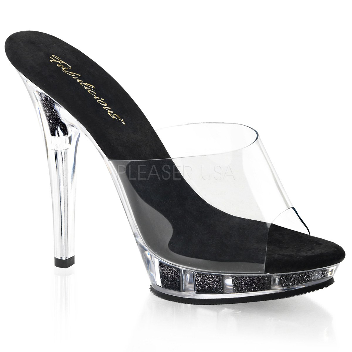 Fabulicious Women's Lip 101 Platform Sandal B00DGII1UY 5 B(M) US|Clear / Black Glitter