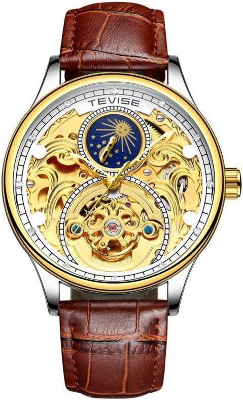 milageto Reloj De Pulsera De Cristal Analógico De Fase Lunar Automático Mecánico Tevise - Blanco Dorado