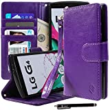 LG G4 Case, Style4U Premium PU Leather Stand Wallet Case with ID Credit Card / Cash Slots for LG G4 + 1 Stylus [Purple]