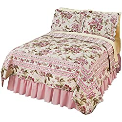 Pretty Peony Floral Garden Reversible Lightweight Quilt, Pink Flowers, Full/Queen