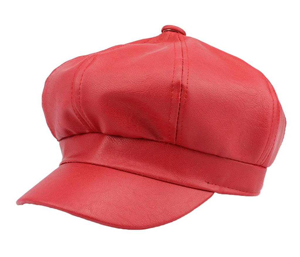 b092325dc7c Bigood Women Fashion PU Leather Solid Ascot Ivy Newsboy Cap Berets Red   Amazon.co.uk  Clothing