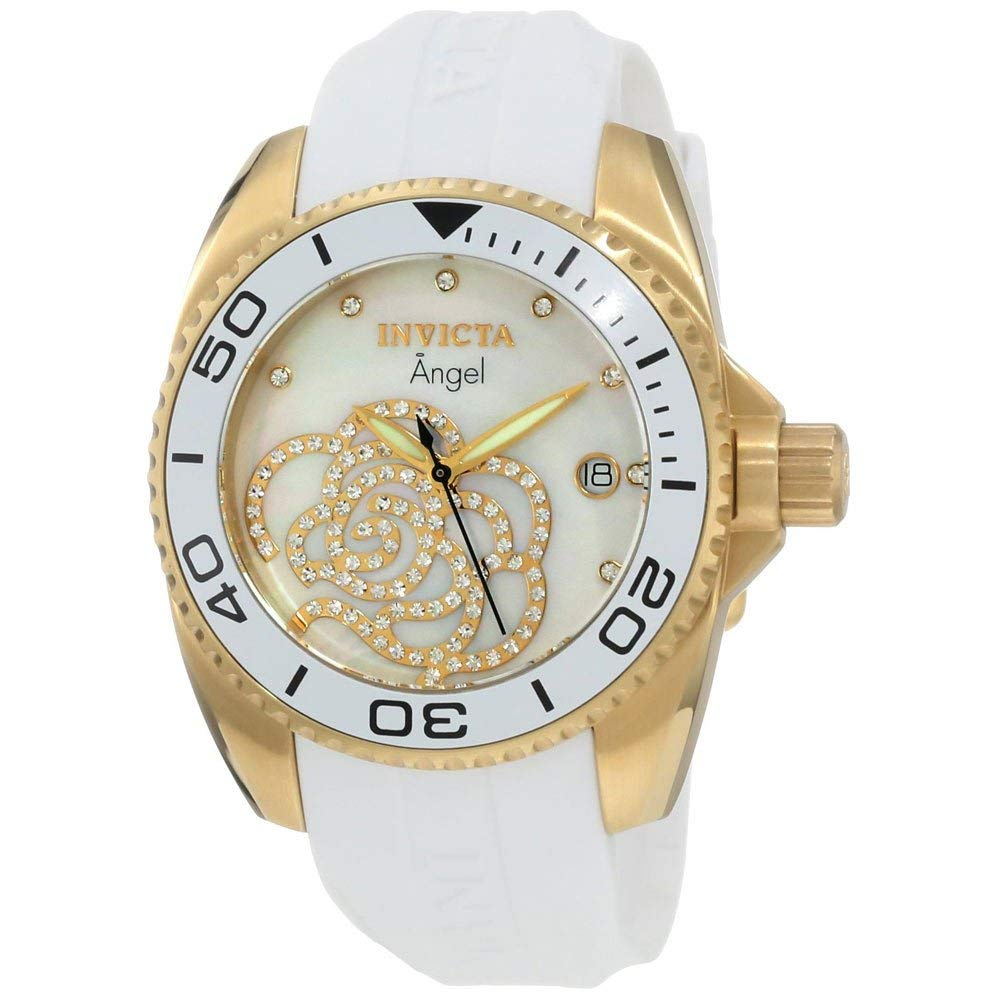 ویکالا · خرید  اصل اورجینال · خرید از آمازون · Invicta Women's 0488 Angel Gold-Tone Watch with White Polyurethane Band wekala · ویکالا