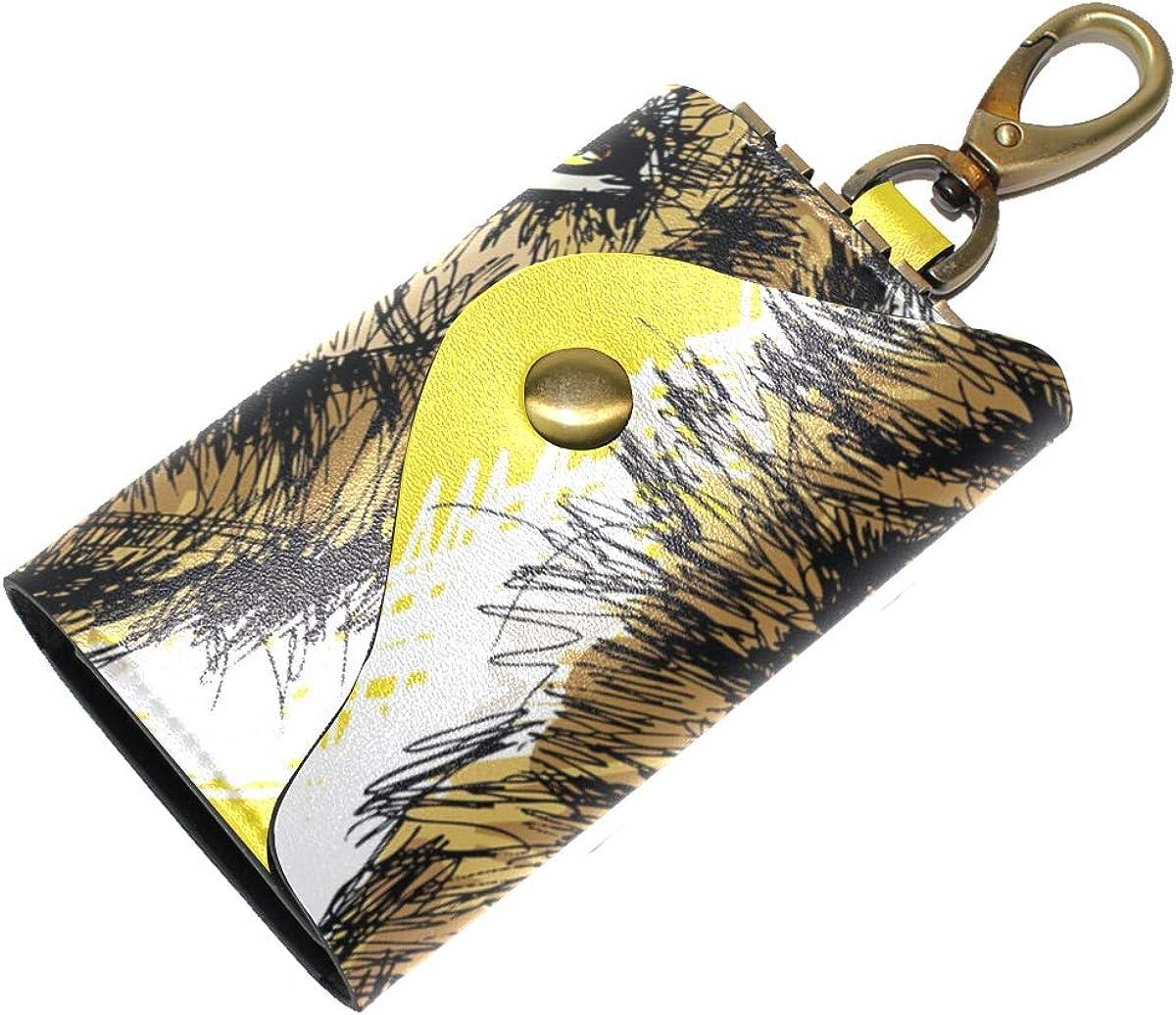 KEAKIA Roaring Lion Leather Key Case Wallets Tri-fold Key Holder Keychains with 6 Hooks 2 Slot Snap Closure for Men Women