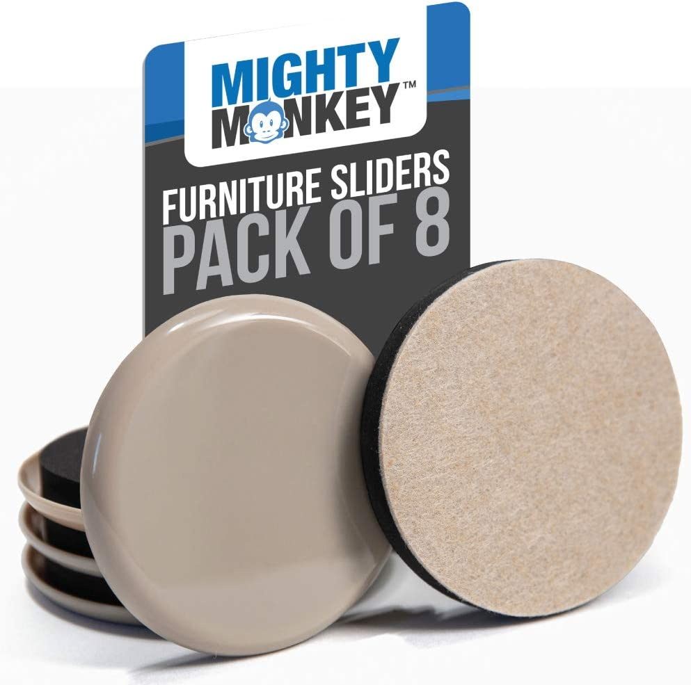 MIGHTY MONKEY Premium Furniture Sliders, 8 Piece, Carpeted and Hard Floor Surfaces Moving Kit, Felt Coaster Pads, Pad Sliders Help to Easily Move Couches, Sofa and Protect Floors from Heavy Furniture