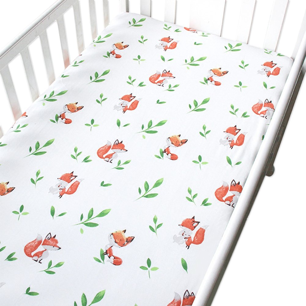 Shinybaby Cotton Crib Sheet,Gender Neutral Leaves and Fox Baby or Toddler Fitted Sheet,Fits Standard Mattress by Shinybaby