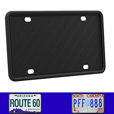 Synrroe Silicone License Plate Frame Rust-Proof. Rattle-Proof. Weather-Proof. - Black: Automotive