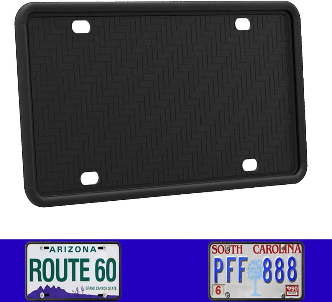 Synrroe Silicone License Plate Frame Rust-Proof. Rattle-Proof. Weather-Proof. - Black