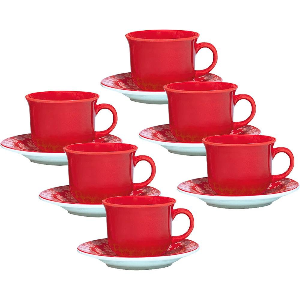 Oxford 7891361946211 12 Piece Red Lace Tea Cup Set
