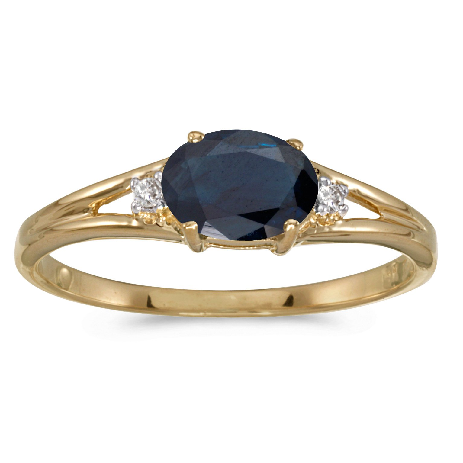 14k Yellow Gold Oval Sapphire And Diamond Ring (Size 5)