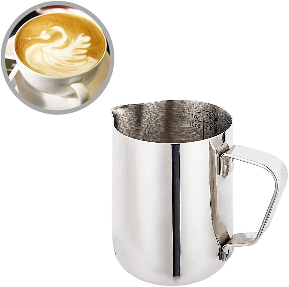 Milk Frothing Pitcher, Steaming Pitcher Food Grade Stainless Steel with Dual Side Measurement for Latte Coffee Arts, Espresso Machines, 12 Oz 350 ml