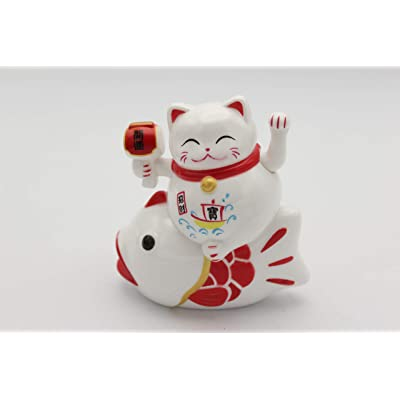 "YIWU Japanese Lucky Maneki Neko Waving Paw Hand Catching Fish Cat Battery Operated 4"": Toys & Games"