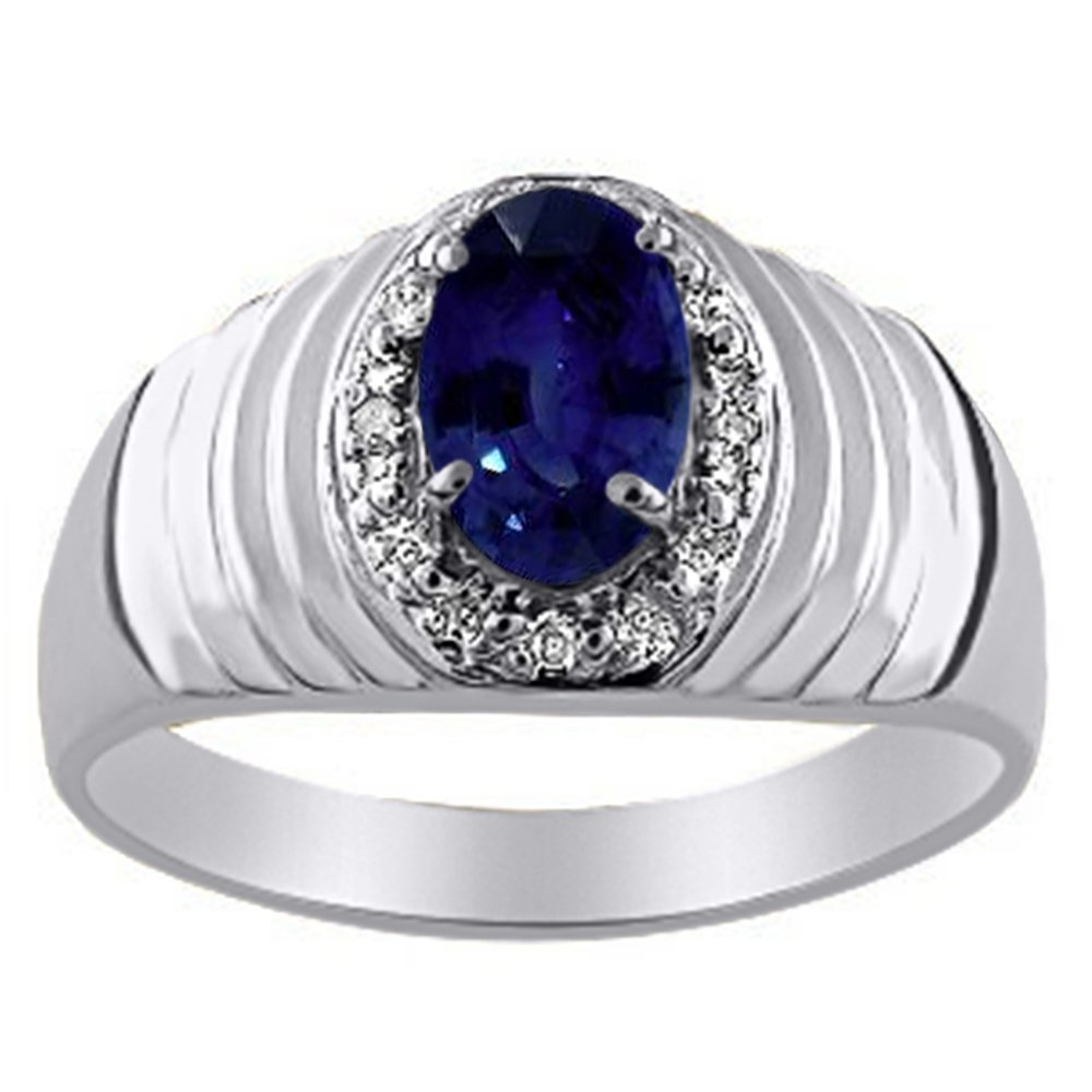 Mens Diamond /& Sapphire Ring set in Sterling Silver or Yellow Gold Plated