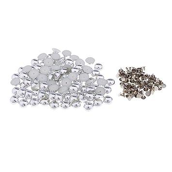 perfk 100x Halbrund Nieten Ziernieten Ledernieten Schmucknieten Kunststoffnieten Druckkn/öpfe DIY f/ür Kleidung Grau schwarz