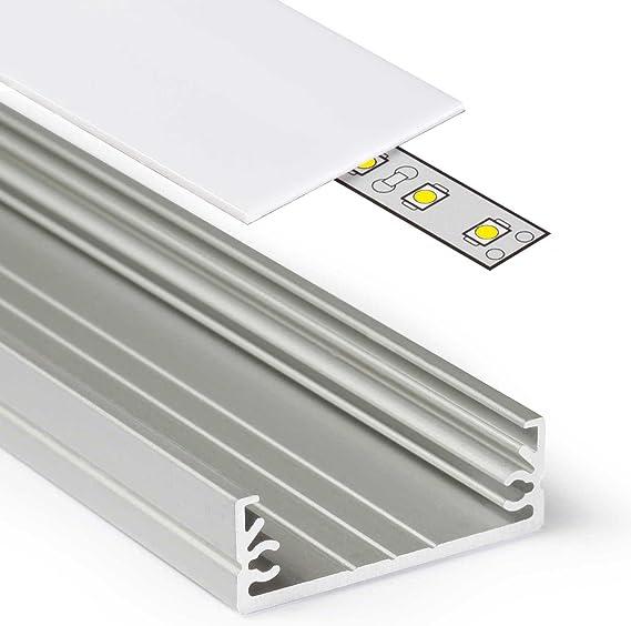 Profil für LED Streifen Alum 1 Meter Eckaufbauschiene Stripes mit Abdeckung