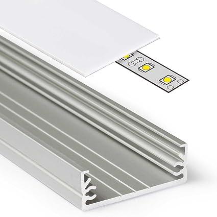 2 m Profilo In Alluminio wide24 (Wi) 2 metri Barra Profilo In Alluminio  Anodizzato per strisce LED, bianco (Opal) Guide per – Set inkl Cover opaca  ...