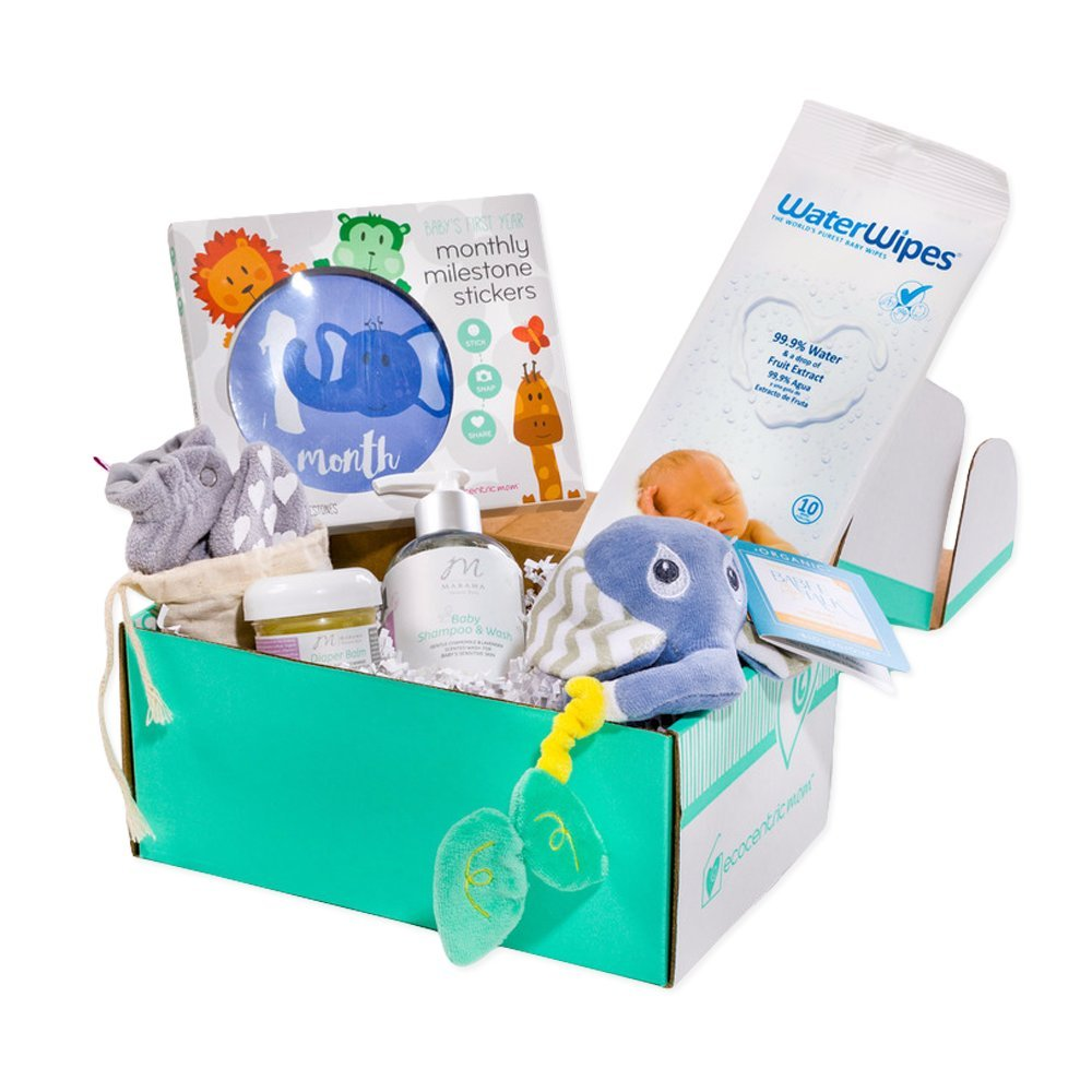 Ecocentric Mom Newborn Box - Cute Gifts For New Moms With Non-Toxic, Organic & Natural Products- Baby Shampoo & Wash, Vegan Diaper Balm, Baby Booties, Milestone Stickers, Baby Wipes and Teething Toy