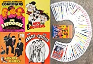 FlonzGift Famous Vintage Comedians Playing Cards (Poker Deck 54 Cards All Different) 3 Stooges, Marx Brothers,